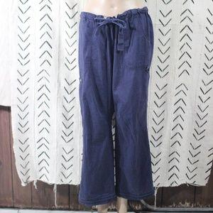 Kathy Peterson Koi Navy Blue Scrub Pants Large